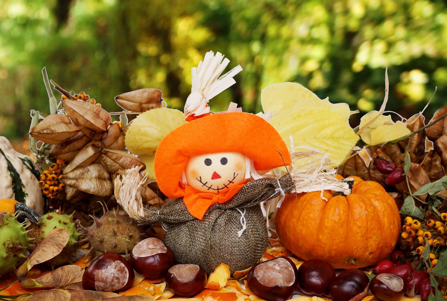 Vogelscheuche, Herbst, Kürbis, Kastanien