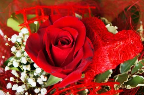 Blumenstrau 223 Rote Rose Mit Herz Lizenzfreie Fotos