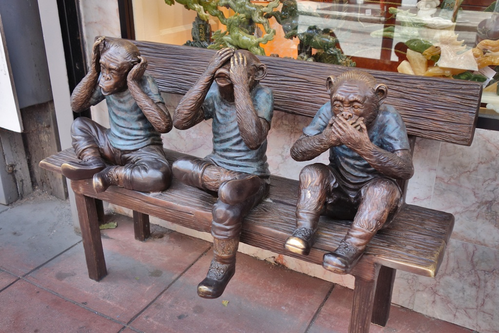 Affen sitzen auf einer Bank
