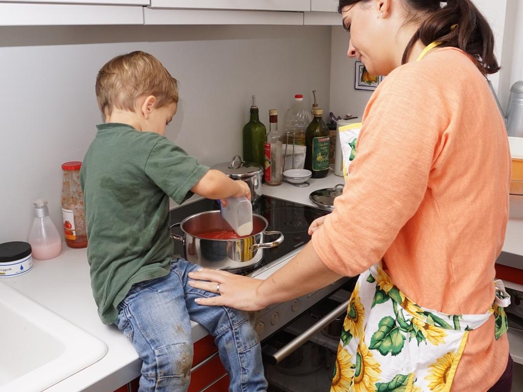 Zusammen mit Mama kochen