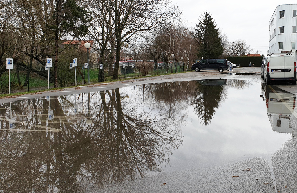 Hochwasser Parkplatz