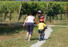 Junge Kinder lernen Fahrrad fahren