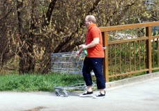 Mann mit Einkaufswagen