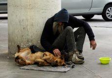 Bettler, Obachloser mit Hund