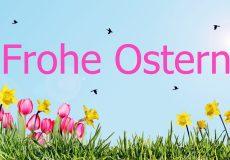 Frohe Ostern – Wiese mit Blumen