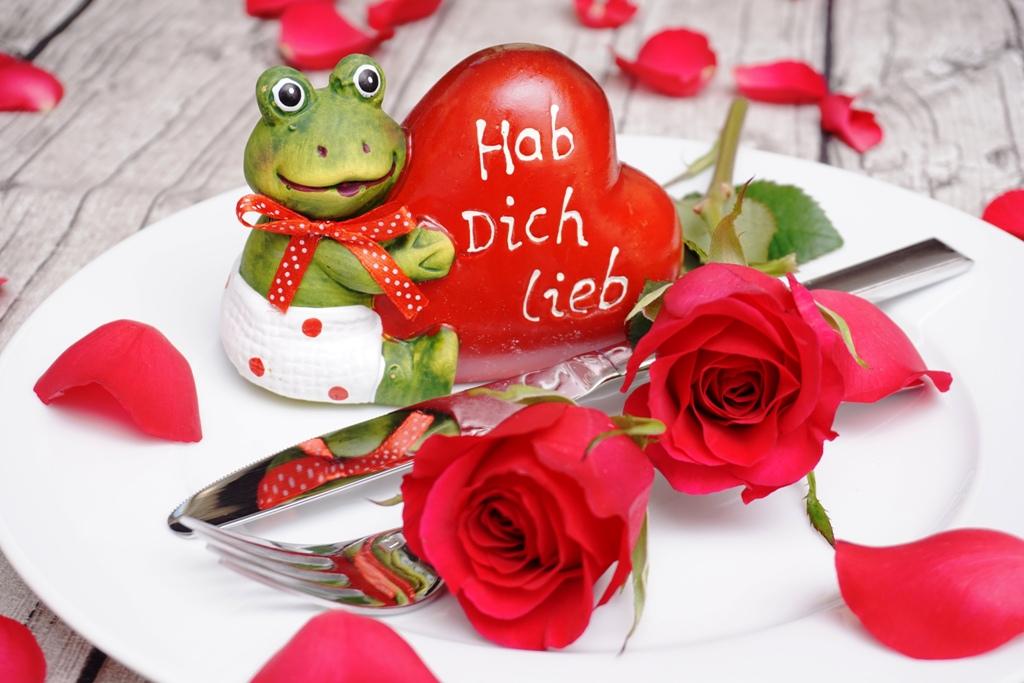 Essen gehen Valentinstag / Blumen
