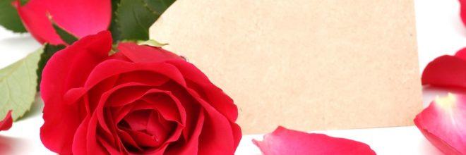 Valentinstag - Rote Rose mit Kärtchen