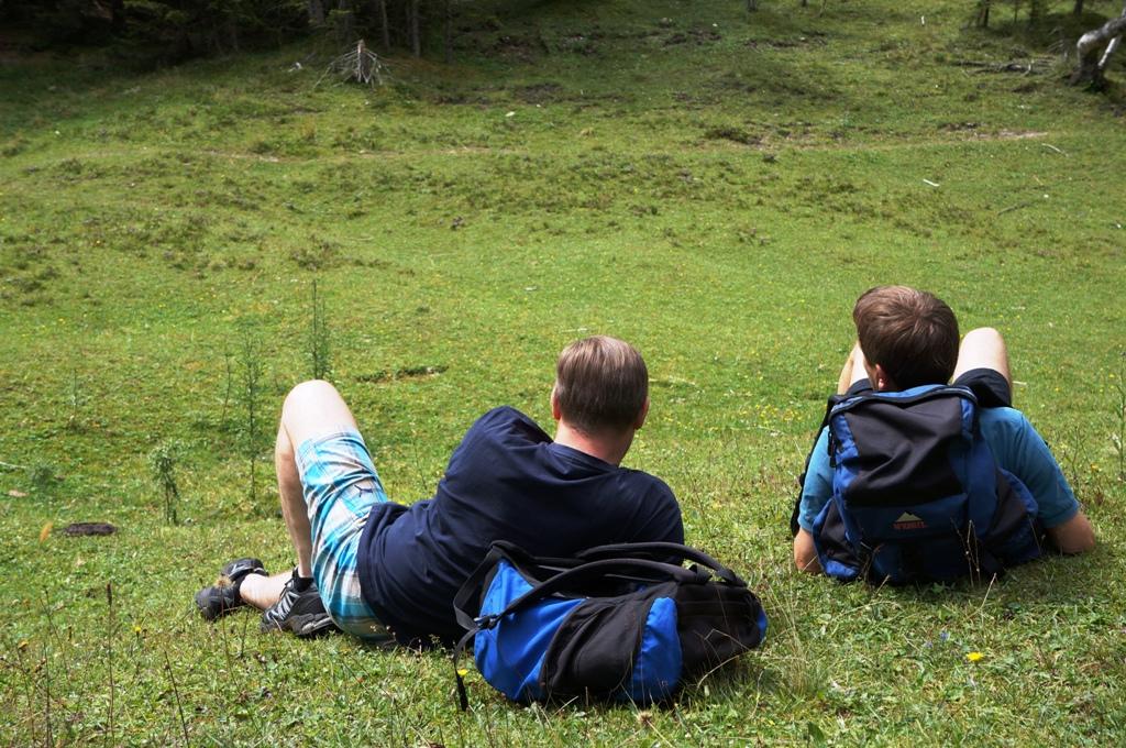 Wanderer machen Pause
